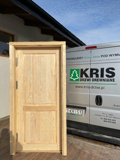 Drzwi drewniane OD RĘKI wahadłowe z oscieżnicą regulowaną CAŁA POLKA