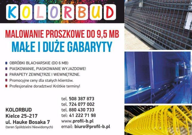 Malowanie proszkowe 9 mb/ Piaskowanie Kielce ! Hauke Bosaka Kolorbud