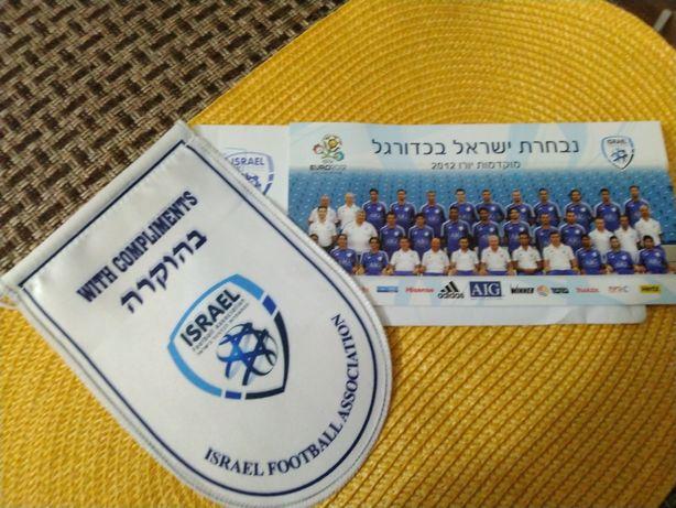 Вымпел и открытка , сборная Израиля по футболу. От федерации Израиля