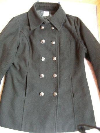 Damska wełniana kurtka dwurzędowa M/L vintage płaszczyk wełna flausz