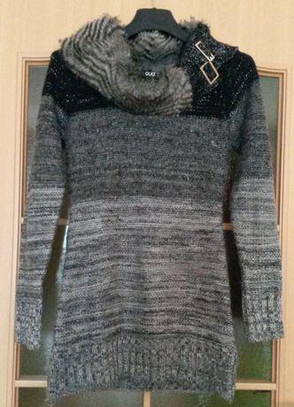 roz 36 Śliczny JAK NOWY oryginalny sweterek szary z golfem