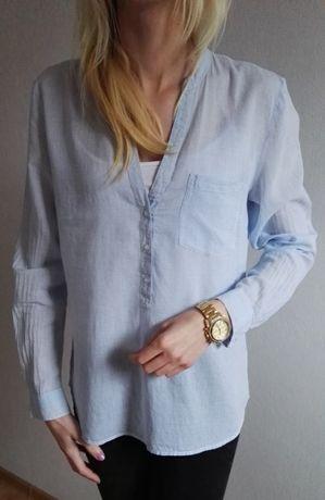Hallhuber elegancka błękitno biała koszula w paski M