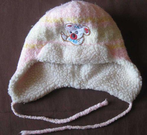 Шапка детская зимняя теплая на завязках.
