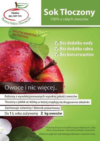 Sok jablkowy tloczony WYKONAM