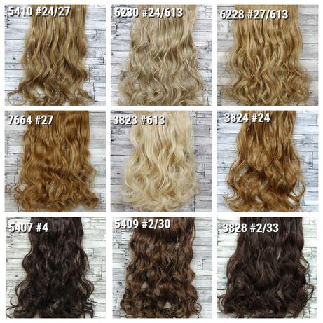 Трессы волосы на заколках клипсах трессах черные русые блонд каштановы