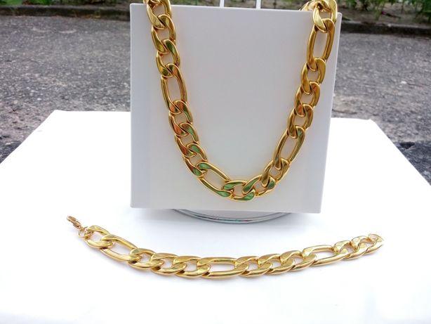 Złoty łańcuszek,złota bransoletka,316 l gold,figaro,Pozłacane,nowy,yes