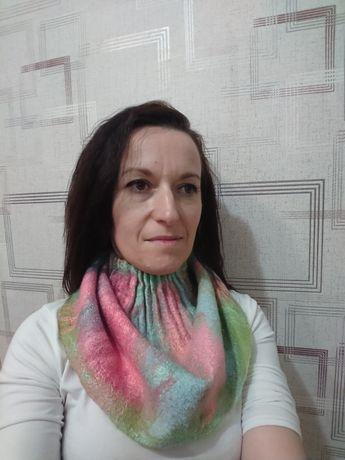 Снуд шарф рукавиці варежки вовна шерсть