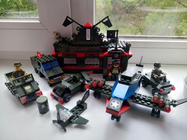 конструктор лего военная база,lego машинки,солдатики,домик,самолет