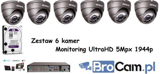 Zestaw 4 kamery 5mpx UltraHD/4K 1944p 4,6,8,16 kamery Gdów Łapanów