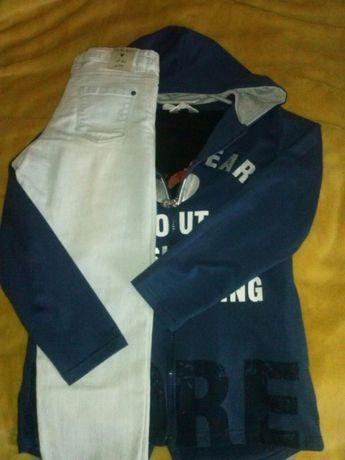 Komplet spodnie-dżinsy+długi rękaw+bluza na 146cm jak nowe.