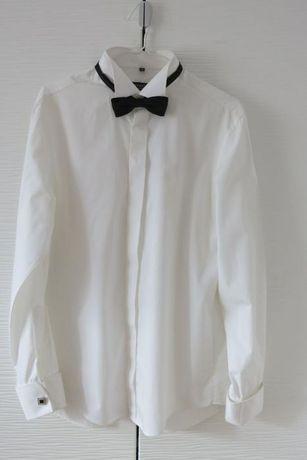 Koszula TUDOR ślubna na muchę spinki ivory złamana biel 42 slim