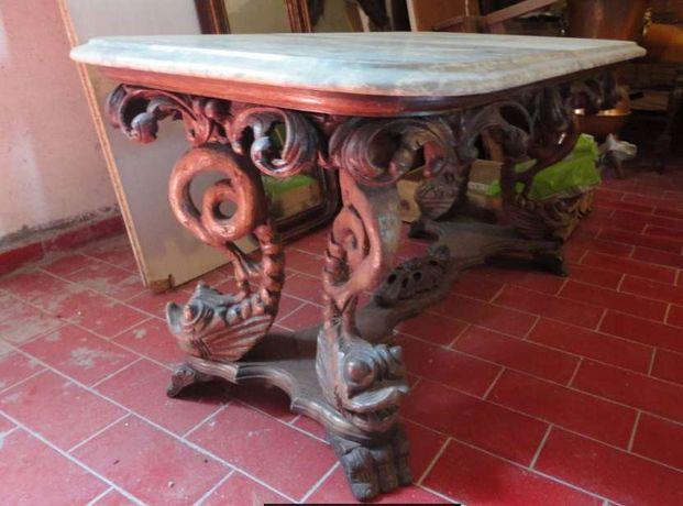 Mesa de sala em madeira com tampo em pedra mármore lindissima