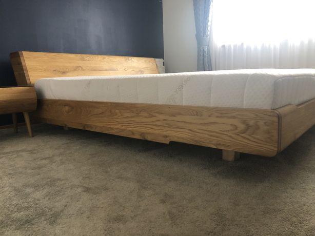 Łóżko 'lewitujące' KOBE lite drewno DĄB + materac + szafki jak NOWE