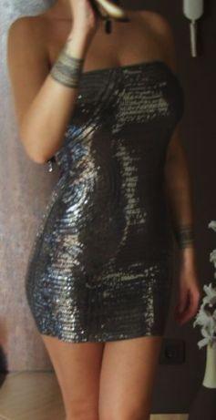 Motivi sukienka mini błyszcząca cekiny srebrna 34 xs/s