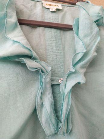 Diesel koszulowa bluzka 55% lnu rozm. S z żabotem, półrękawy niebieska