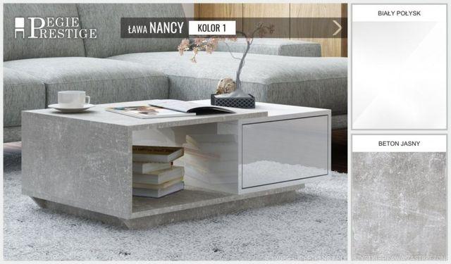 Ława stolik nancy ze schowkiem biały beton