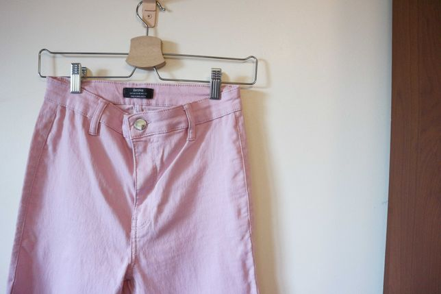 Calças Skinny High Waist Rosa Pastel - Tam. 38 Bershka