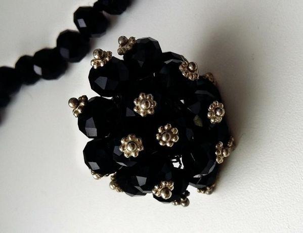 Чёрные бусы с кольцом-горный хрусталь.