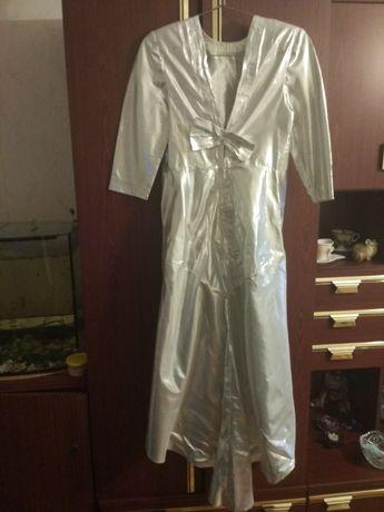 Продам платье из серебряной парчи для торжества, р. 44