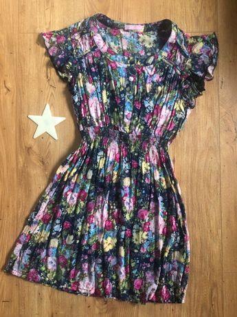 Tunika/ sukienka mini w kwiatki XS