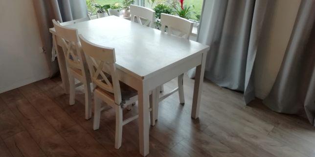 Stół i 4 krzesła, biały komplet