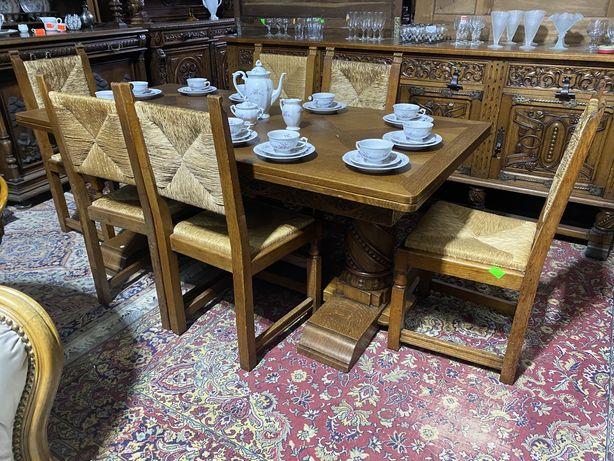 Stół rozkładany + 6 krzeseł/antyki stylowy wegrow