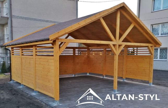 Wiata garażowa,drewniana, garaż AGA 5,5 m x 6,5 m PRODUCENT