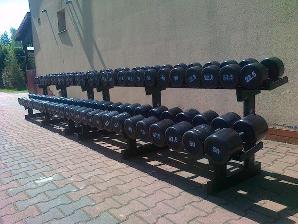 HANTLE stałe stalowe gumowane ogumowane zestaw 5 - 50 co 2,5 kg stojak