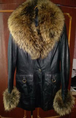 Кожаная тёплая куртка