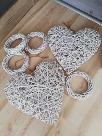 Serce, serca, kółko, kółka wiklinowe białe