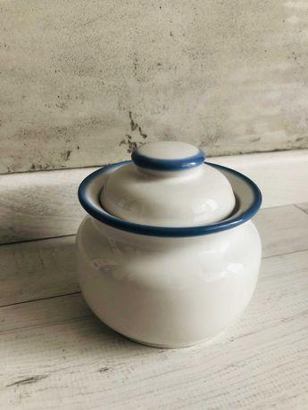 Cukiernica cukiernica PRL PRUSZKÓW ceramika porcelana biała niebieska