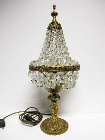 lindo antigo candeeiro de mesa em bronze com cristal