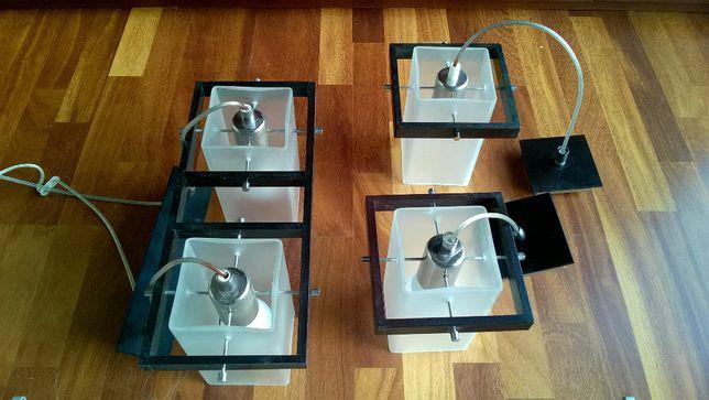 Komplet 3 lamp 16x16cm wysokość 18cm. Jedna podwójna i pojedyncza