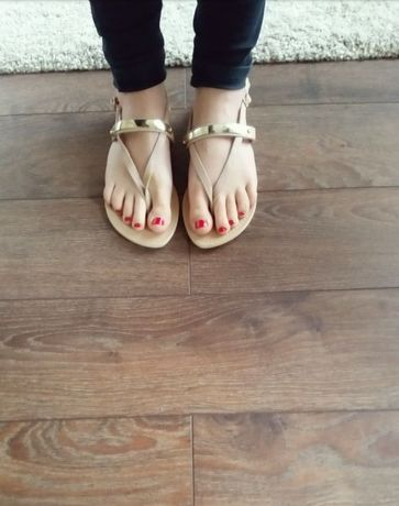 -60% New look nowe sandalki skóra złoto róż r.39 lato