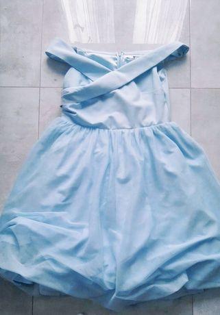 Sukienka tiul 3/4 błękitna rozmiar 42