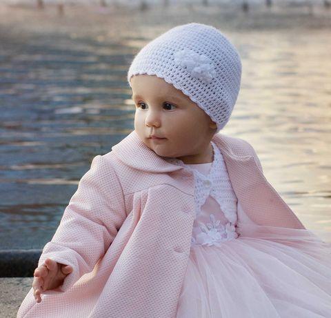 Czapeczka do chrztu dla dziewczynki, rozm. 43- 45