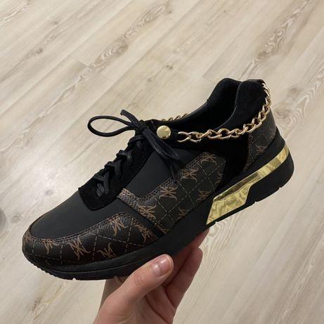 Czarne, złote, brązowe buty sneakersy, nowe