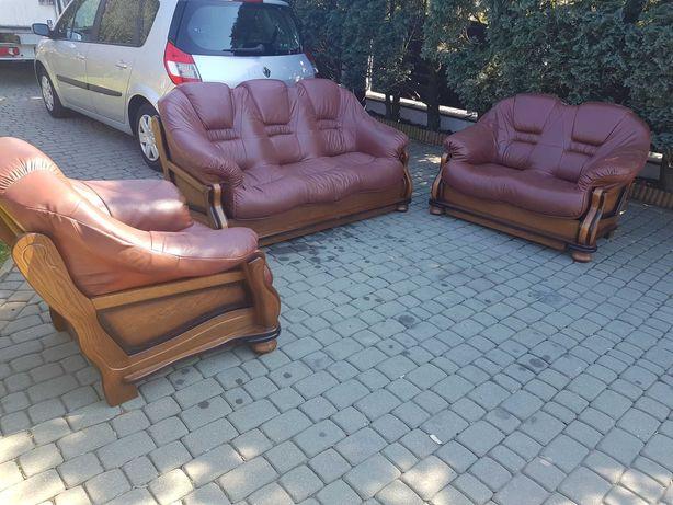 Komplet skórzany zestaw wypoczynkowy sofa kanapa fotel