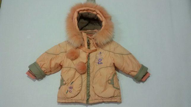 Зимняя куртка флис и холофайбер.Натур мех песец.на 86-92см рост