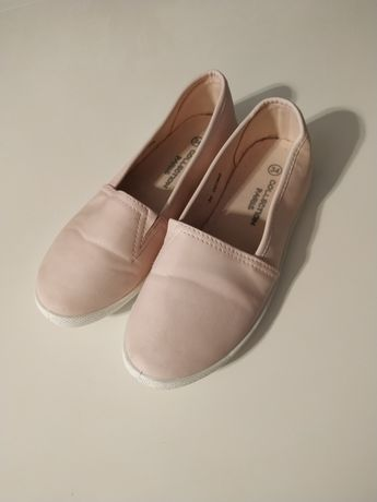 Buty dla dziewczynki balerinki pudrowy róż z brokatem 34