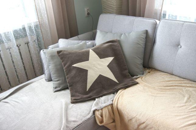 czarna brazowa pastelowa poszewka na poduszke poduszka z gwiazda
