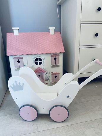 Wózek drewniany biały dla dziewczynki jak nowy korona