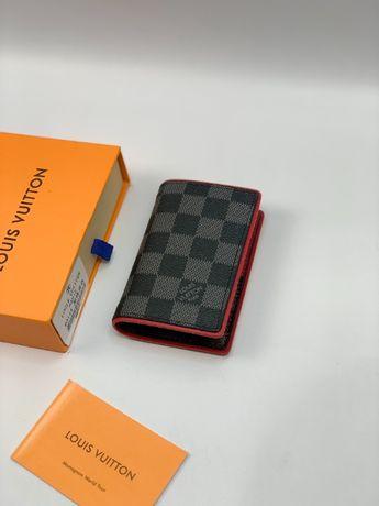 Мужской кожаный кошелек бумажник визитница LV Louis Vuitton k292