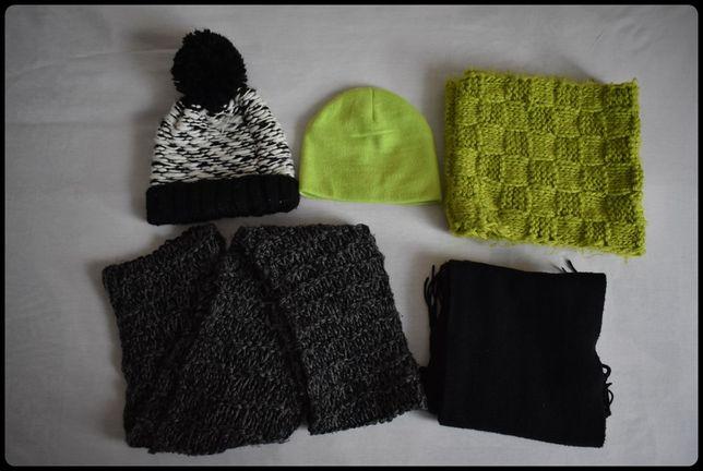 Zimowy zestaw dla kobiety szale kominy czapki