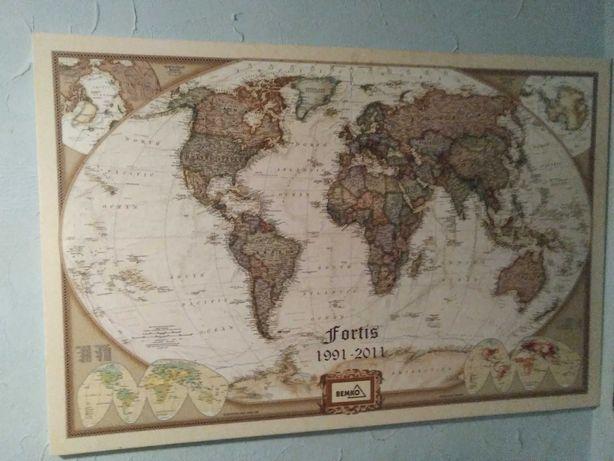 Duża mapa świata na płótnie