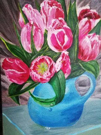 Картина акриловыми, масляными, красками на оргалине, холсте