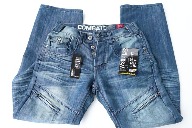 Ciekawe nowe spodnie jeansy W30 L32 COMBATE FIT Denim CO