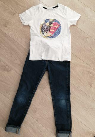Koszulka z cekinami H&M + spodnie GAP zestaw