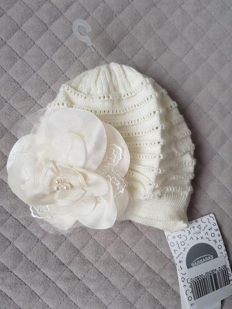Nowa elegancka czapka niemowlęca, chrzest, 40-42cm