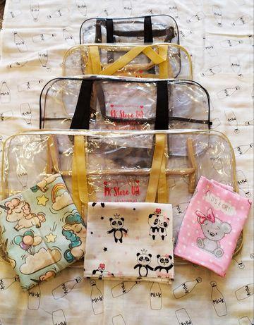 Новые сумки и муслиновые пеленки в роддом (пологовий)